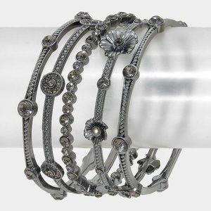 5pcs  Crystal Station Flower Stack Bracelets-Metal